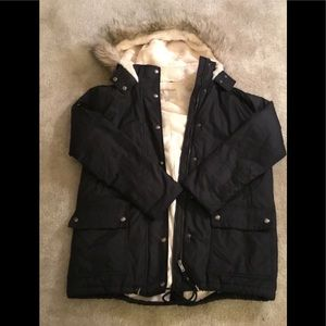 Faux fur lined hooded jacket by Banana Republic .